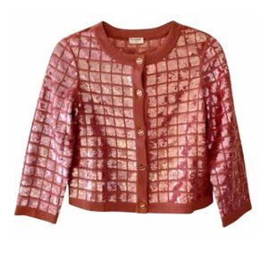 VTG Chanel Sequin Magenta Short Sleeve Cardigan 4